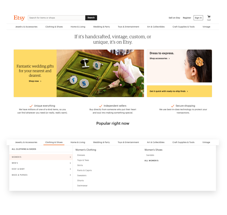 Etsy's homepage
