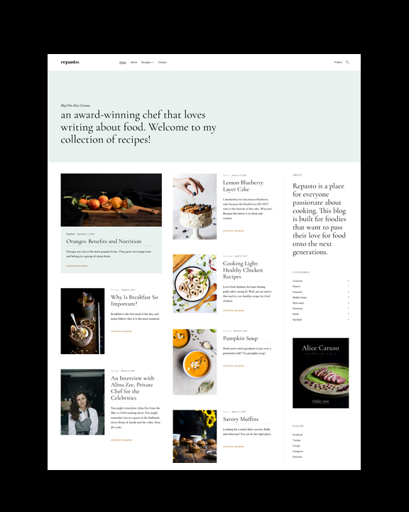 Repasto - food blog WordPress theme