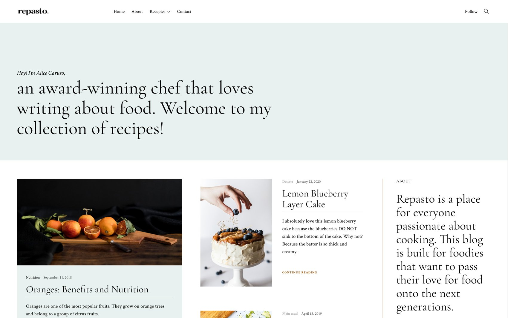 Repasto - Flavorful food blog WordPress theme